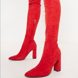 PrettyLittleThing Shoes - Red Thigh High Faux Suede Boots